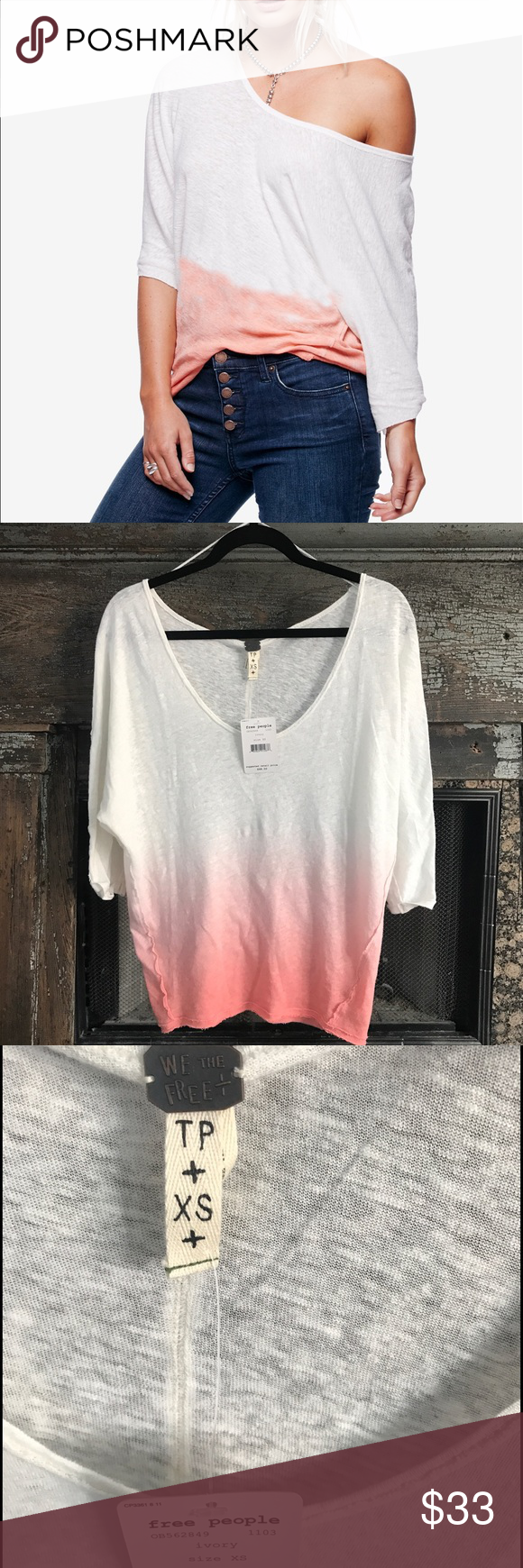 🌸Free People🌸 Ombré Top Sz XS Beautiful ombré  colored Free People Blouse. NWT 😊. I accept reasonable offers using the offer button only. Thank you for looking and happy poshing 💗 Free People Tops