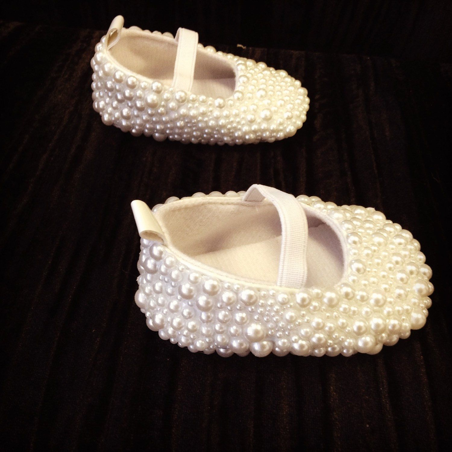 Hand pearled pram shoes romany blinged baby shoes flower girl
