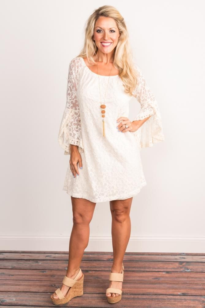 Pink Coconut Boutique | Moving On Fringe Lace Dress - Cream
