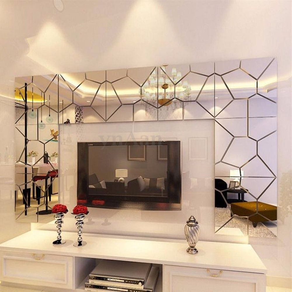Pcs D Irregular Mirror Effect Wall Stickers Art Mural Decal - 3d effect wall decals