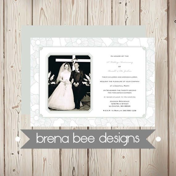 70 Year Wedding Anniversary Gifts: Personalized 60th Or 70th Wedding Anniversary Invitation