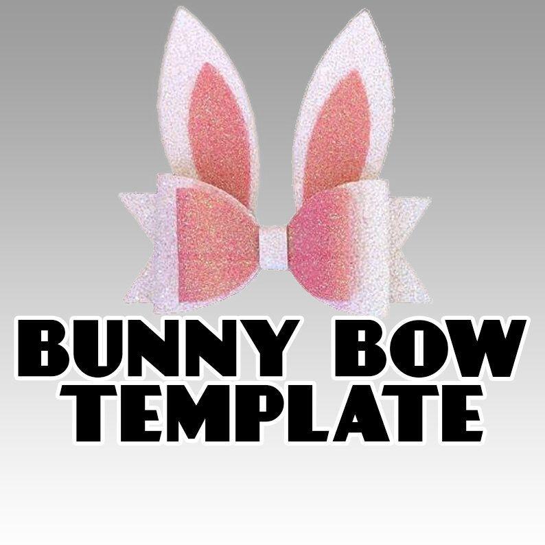 Easter Bunny Bow SVG Bunny Ears Hair Bow Template Vector