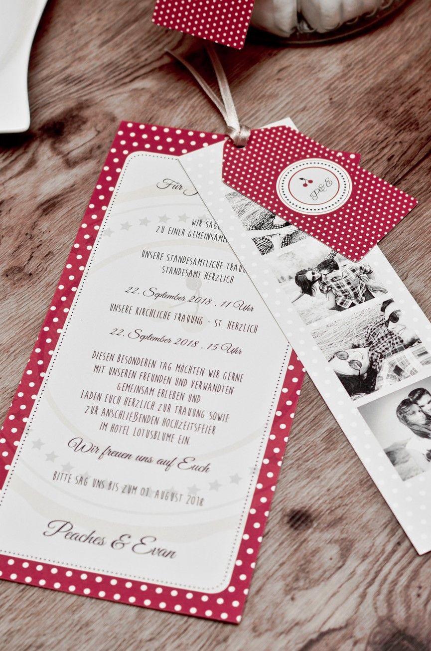Sa wedding decor images  Rockabilly Hochzeitseinladung Kartenset mit Anhänger und Polka Dots