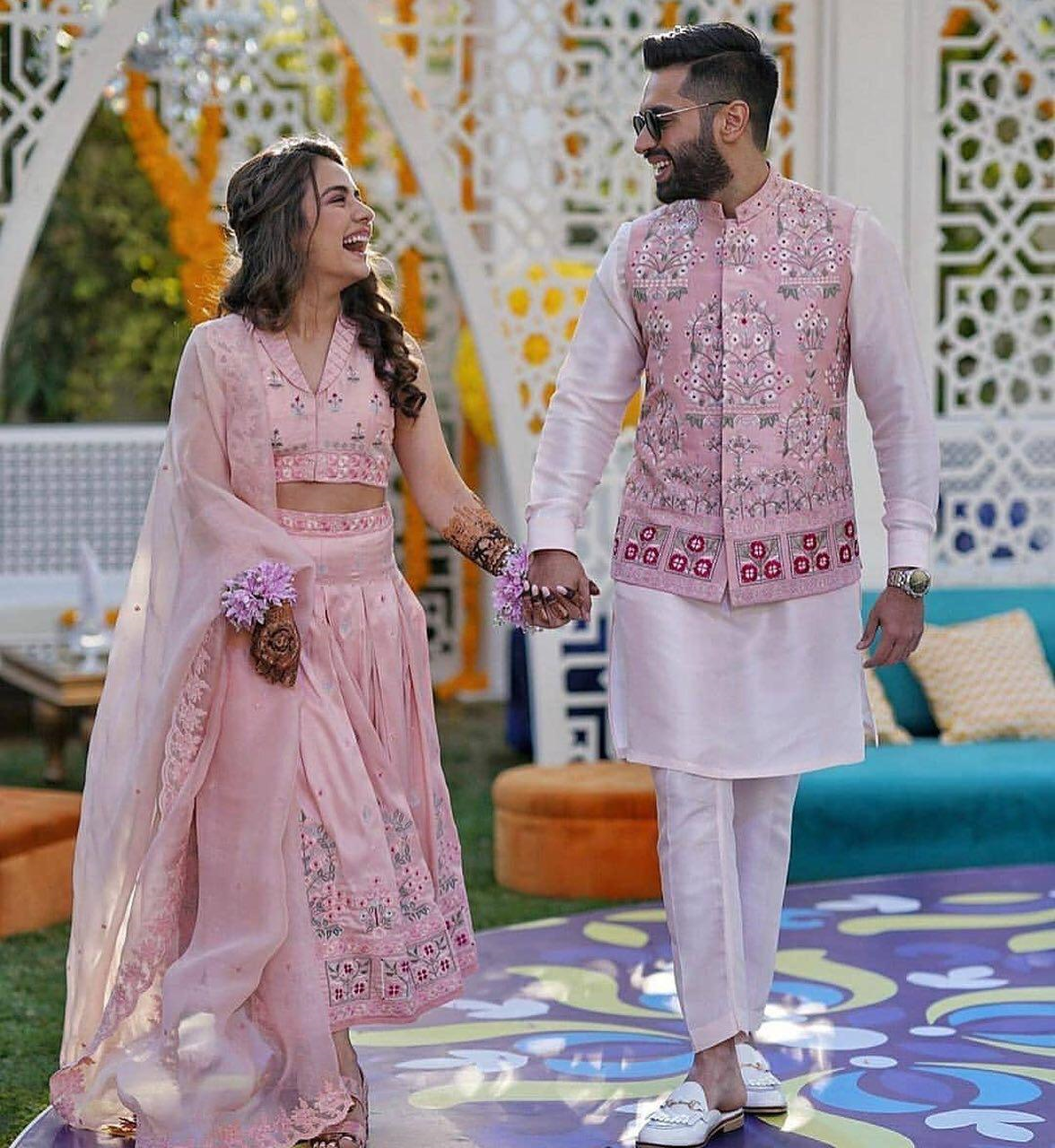 21 Couples Who Stole The Show With Their Stylish Wedding Looks Wedding Dresses Men Indian Engagement Dress For Groom Indian Wedding Outfits [ 1280 x 1176 Pixel ]