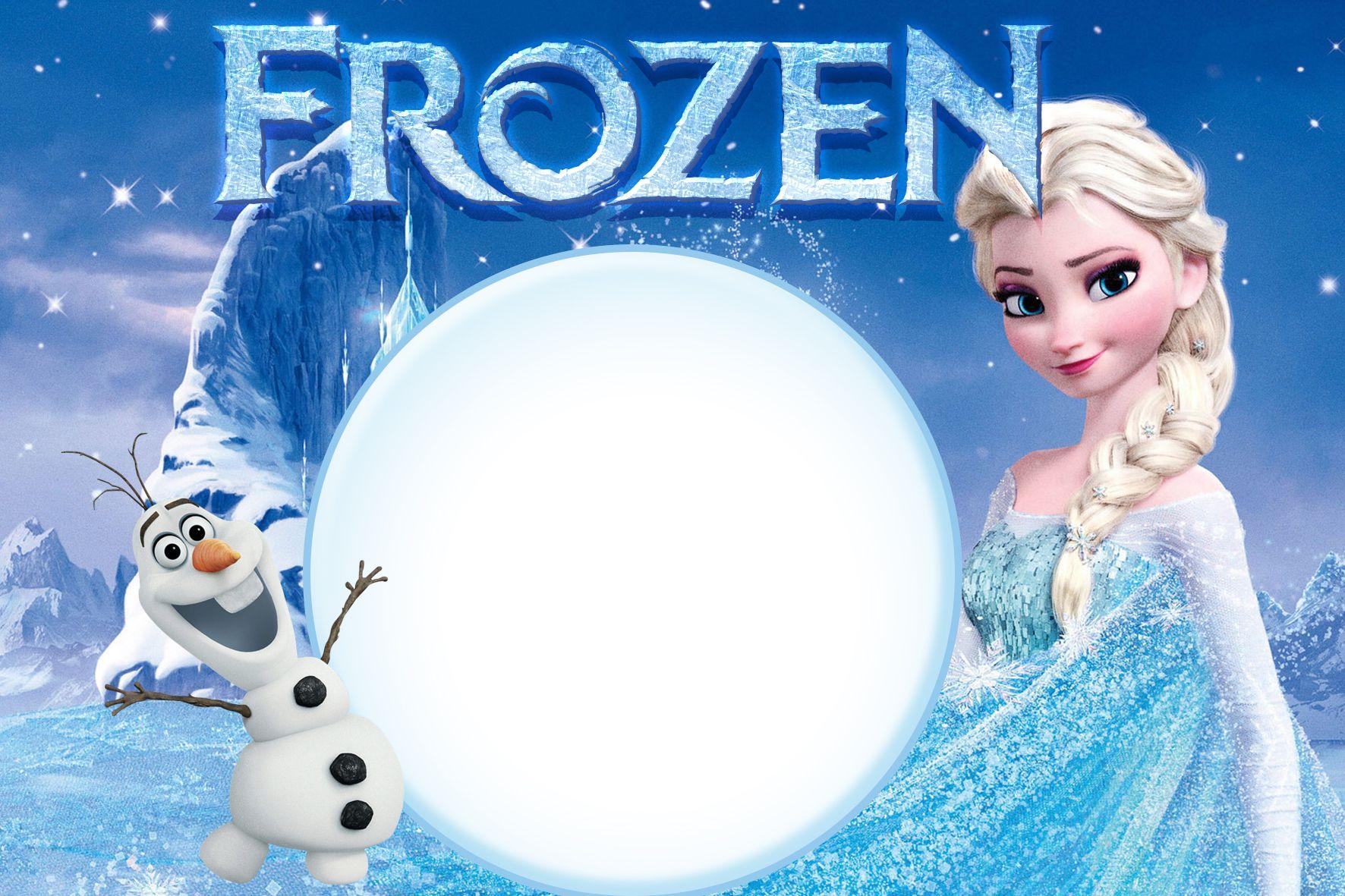 Convite De Aniversario Frozen No Photoshop Para Baixar E Imprimir