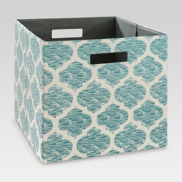 Fabric Cube Storage Bin Teal Pattern 13 Threshold Cube Storage Bins Cube Storage Fabric Storage Bins