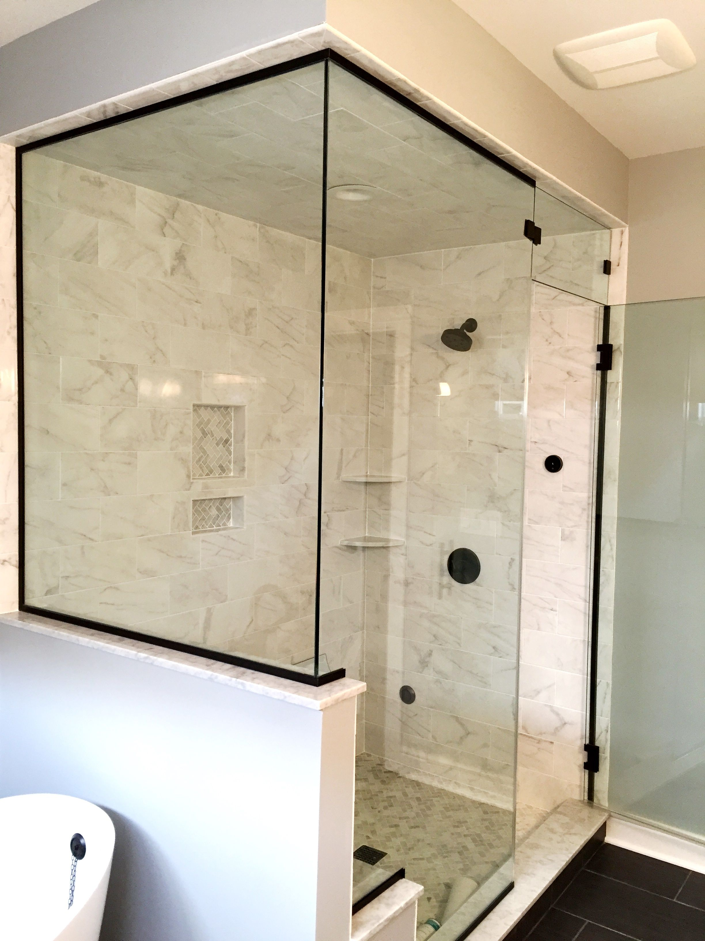 Frameless Shower Enclosure Door Above Door Transom Panel