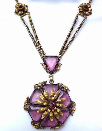 Locket Necklace Amethyst Purple RARE Bohemian Glass Victorian Necklace Shabby Roses Victorian Girl Mourning Necklace Artisan Glass Purple