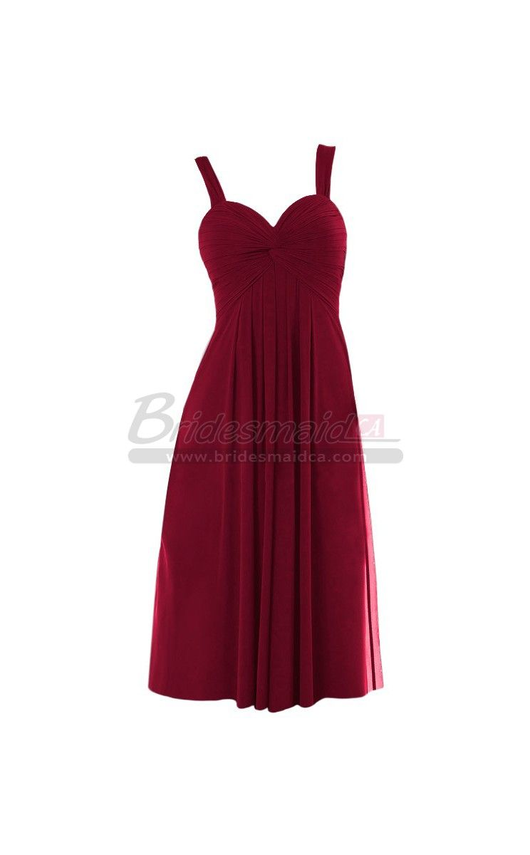 Chiffon Straps Empire Waist Burgundy Short Bridesmaid Dress BDS