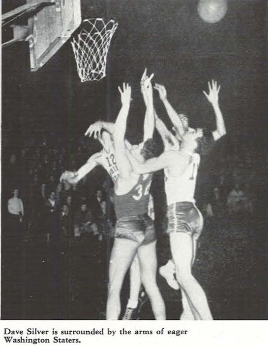 UO basketball player Dave Silver shoots vs. Washington State in 1937 at Mac Court.  From the 1937 Oregana (University of Oregon yearbook).  www.CampusAttic.com
