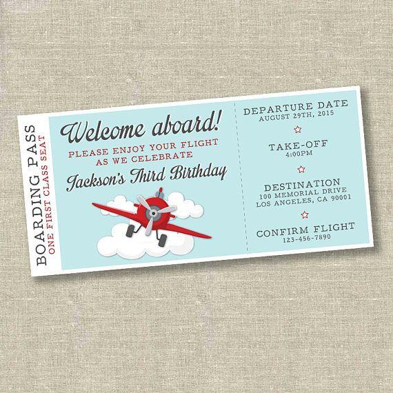 Airplane birthday, airplane invitation, airplane ticket invitation - ticket invitation