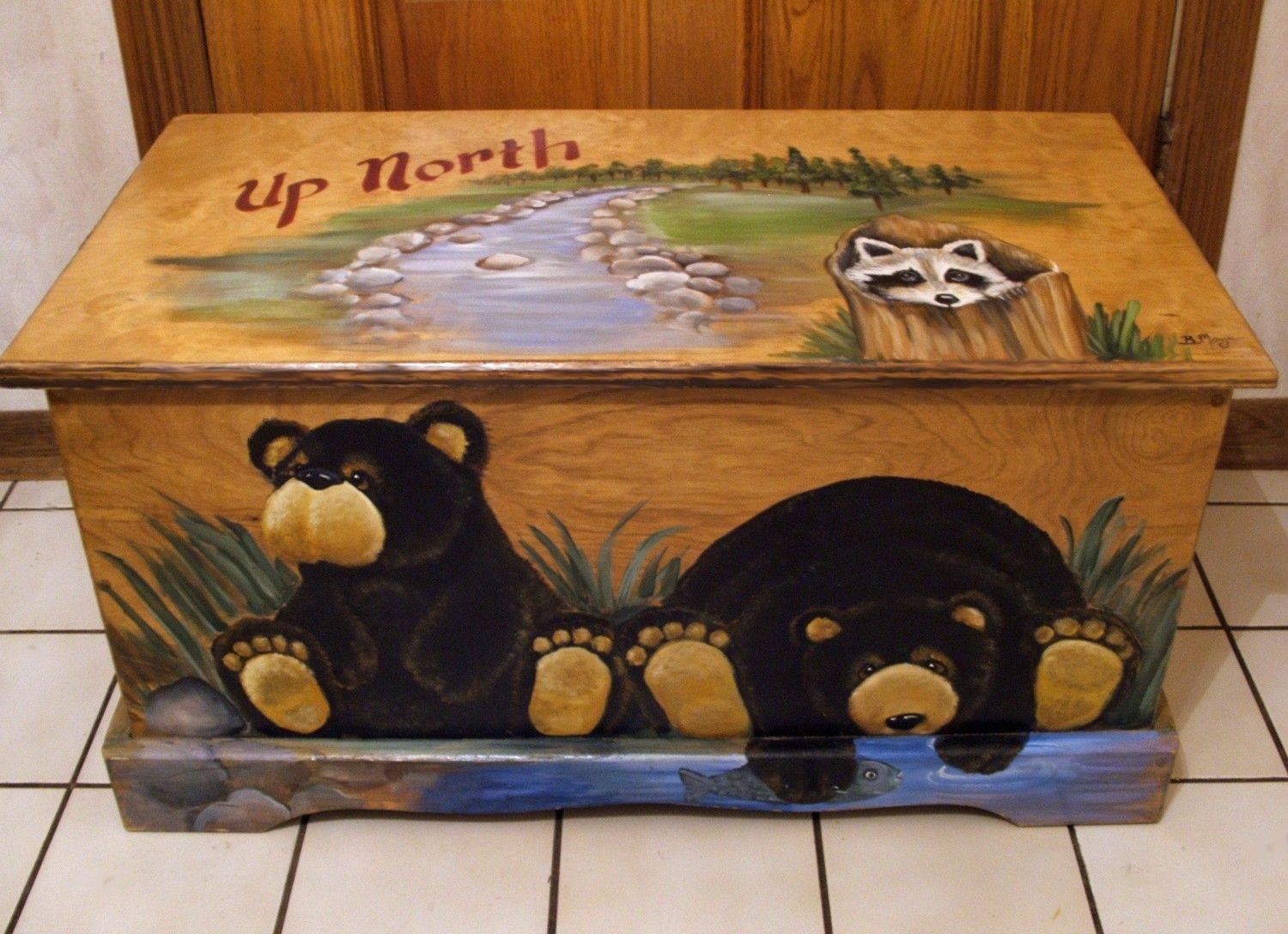 Kids wooden toy chest sunny safari - Up North Black Bear Toy Box Kids Furniture Wooden Chest Hand Made Hand Painted