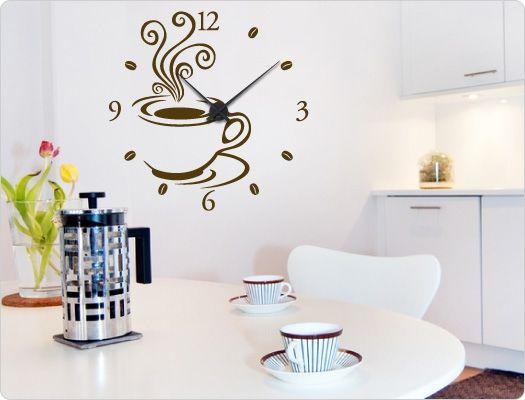 Elegant Wandtattoo Uhr Kaffee Design