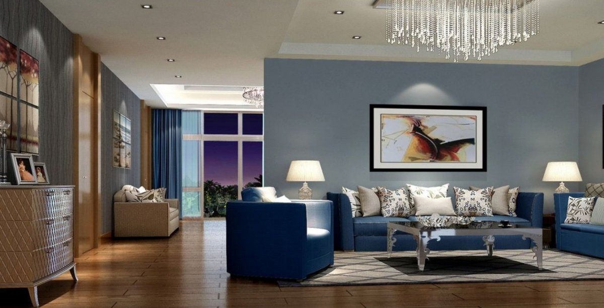 Luxury Open Floor Living Room With Steel Blue Wall Paint Raindrop Crystal Chandelier And Modern
