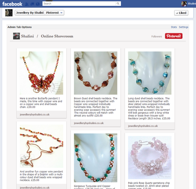 Jewellery By Shalini: Jewellery By Shalini Pinterest Tab on Facebook