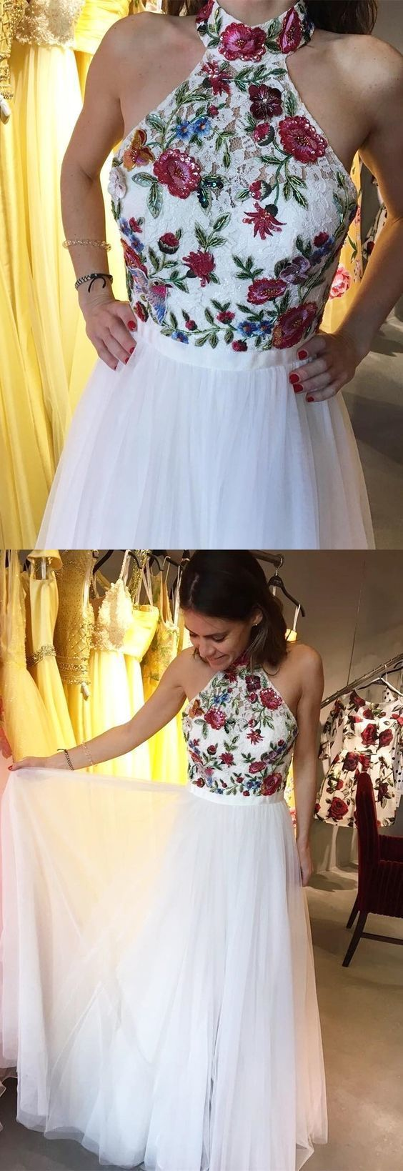 High neck halter white long prom dress prom dress with embroidered