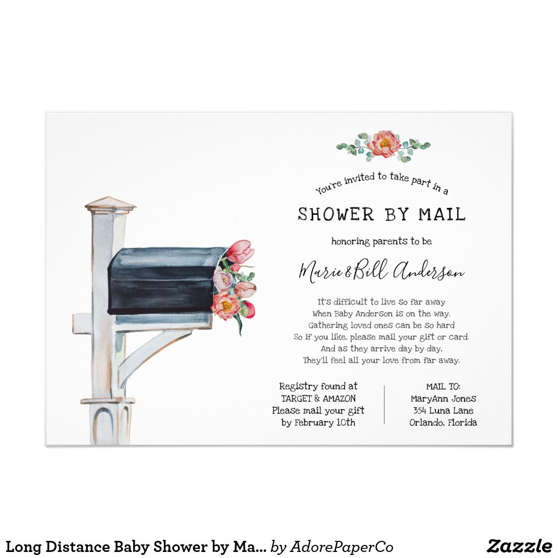 Long Distance Baby Shower By Mail Invitation Zazzle Com With