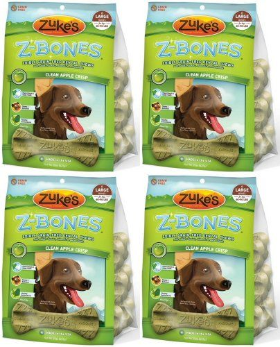 Zukes Zbones Edible Dental Chews Large Apple Crisp 37lb 24ct4x15oz