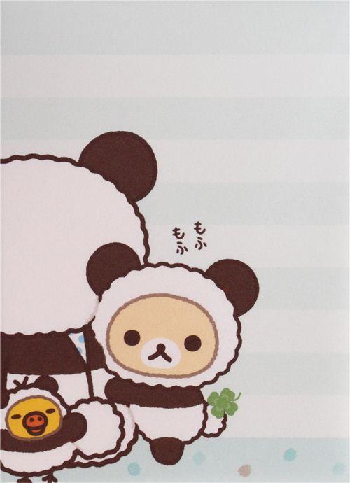mini memo pad from Japan with shamrock, cookies, Kiiroitori chick, Rilakkuma and Korilakkuma bears in panda costumes