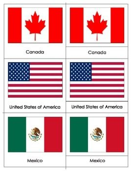 Flags Of North America Three Part Cards North America Flag North America Montessori Projects