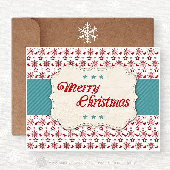 Printable Christmas Card Funny Unigue Card Set by AmeliyCom, $5.00 ...