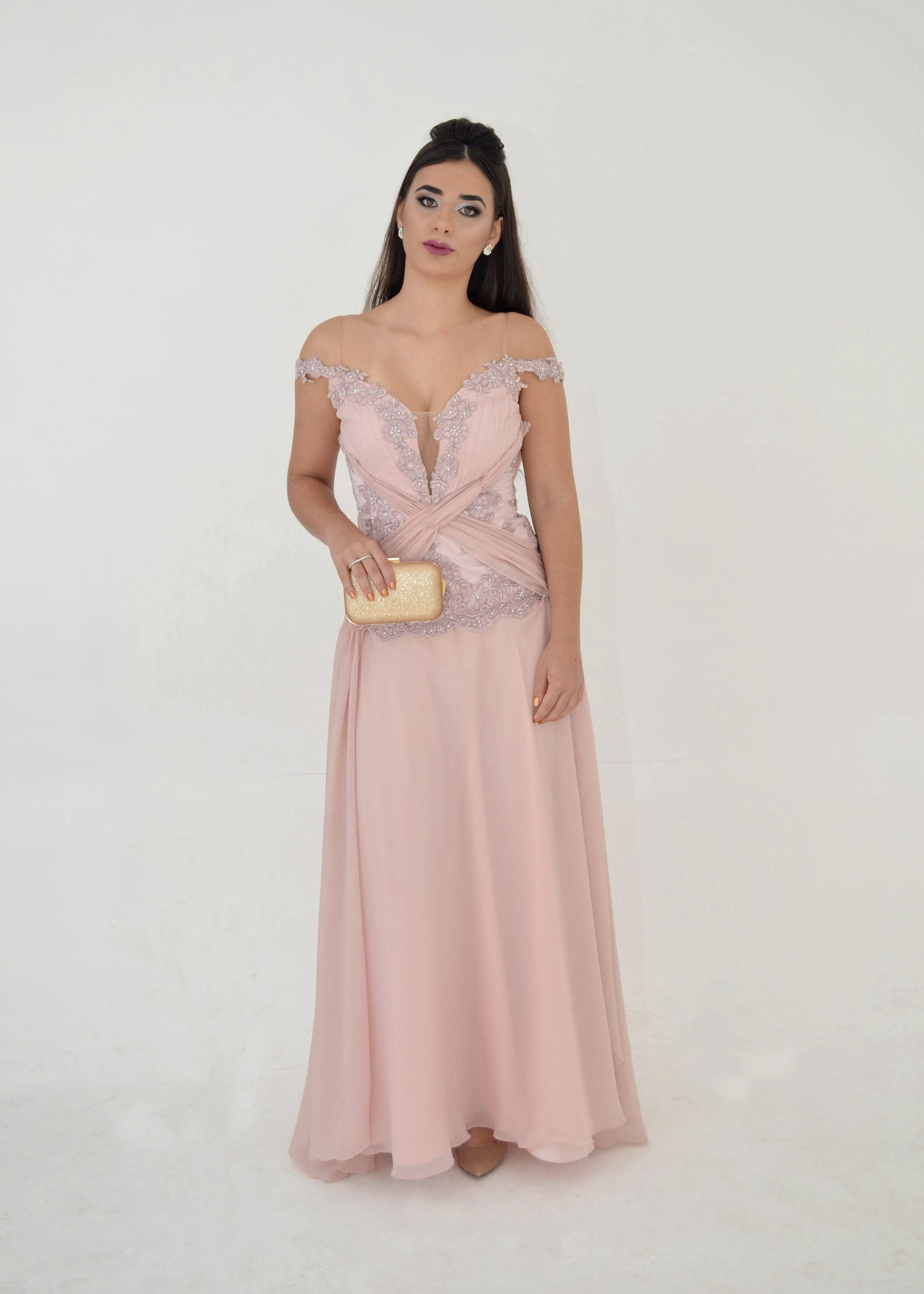 Vestido Rosa Quartz longo com renda, ombro a ombro, Drapeado ...
