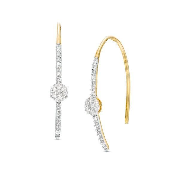 Zales 1/6 CT. T.w. Diamond Heart Hoop Threader Earrings in Sterling Silver with 14K Rose Gold Plate H5gP3JL8rD