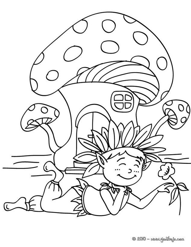 Dibujo para colorear : un elfo con su casa seta | Enanos y gigantes ...