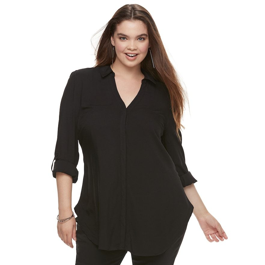 Juniors\' Plus Size Candie\'s® Tie Front Tunic | Products ...