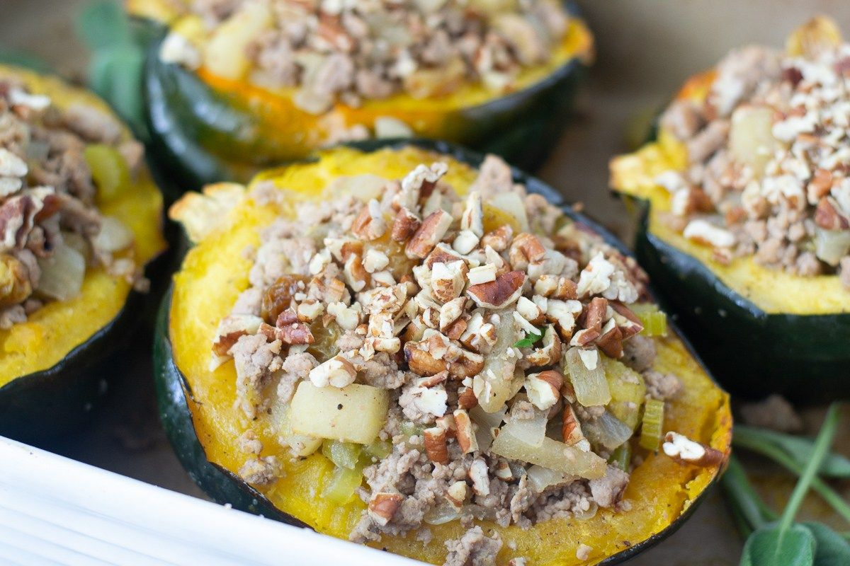 Apple Pecan Turkey Stuffed Acorn Squash Recipe Acorn Squash