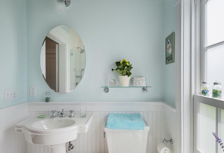 Source crisp architects white and blue bathroom features for Floating pedestal sink
