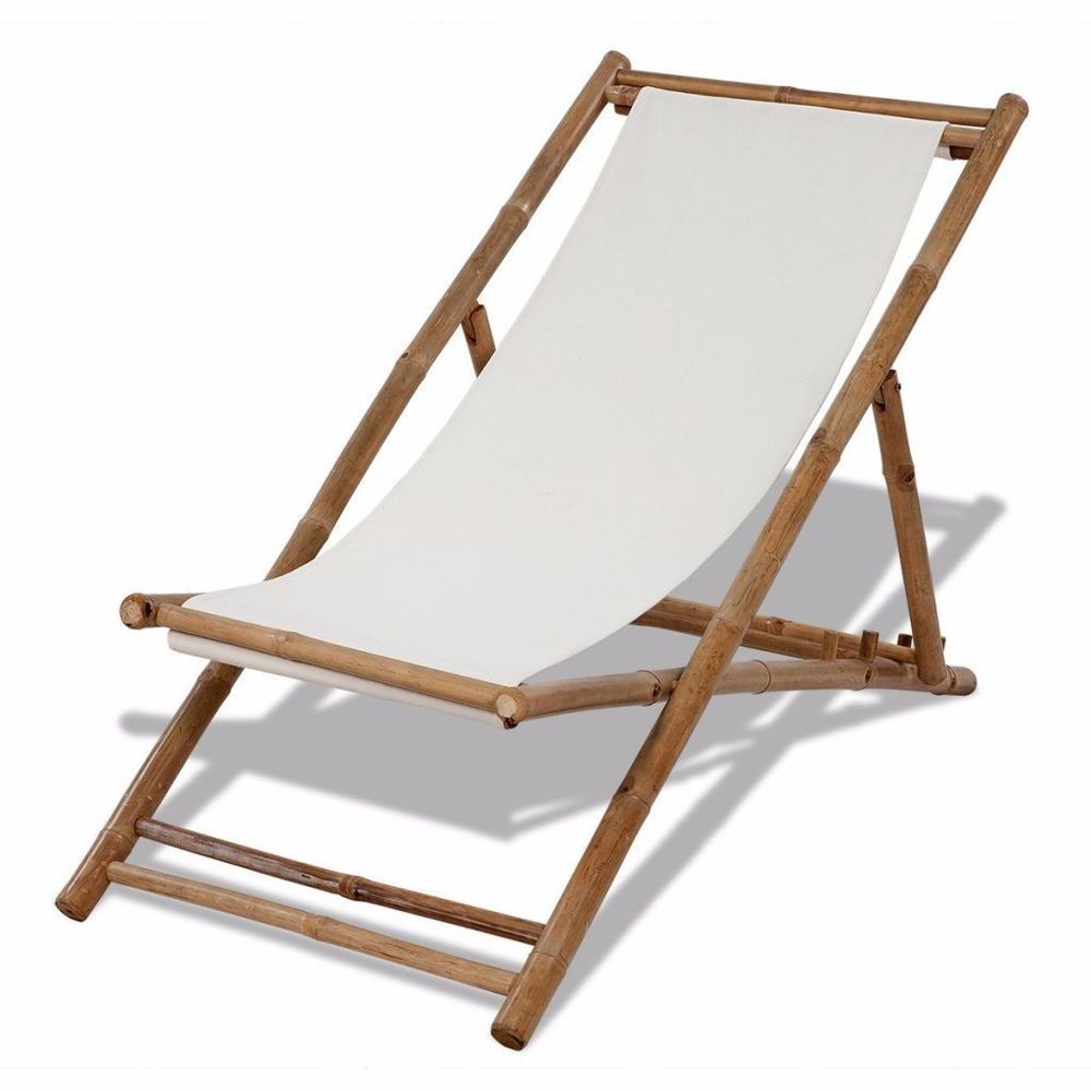 Bamboo Foldable Chair Pool Deck Seat White Canvas Reclining Beach Sun Chair  Uk In Garden U0026
