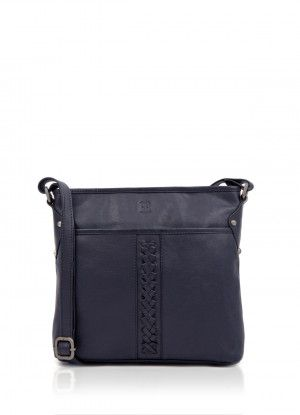 f4d3d91f3549 Plaited Leather Cross Body Bag in Navy