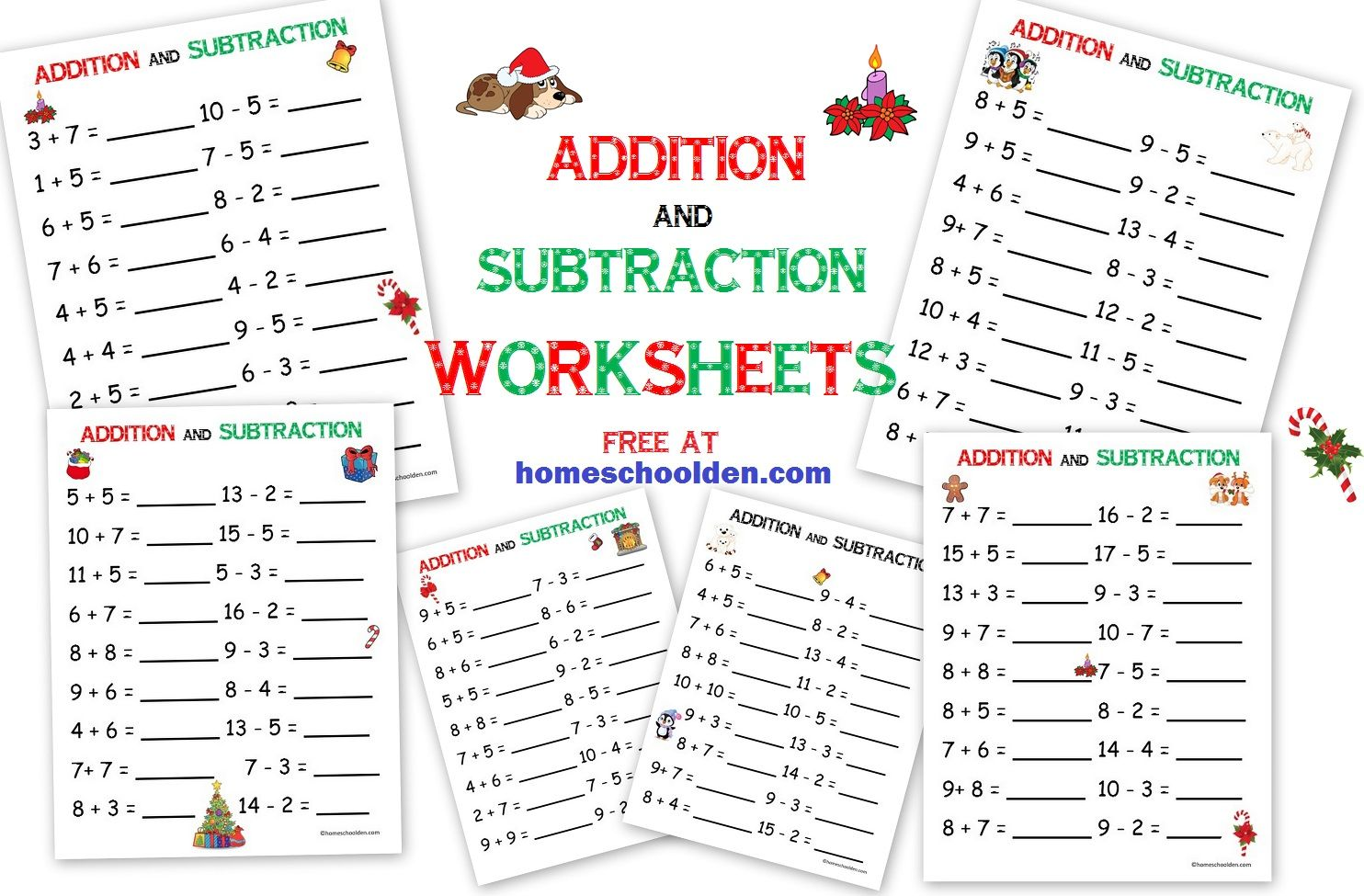 Free Christmas Addition And Subtraction Pages