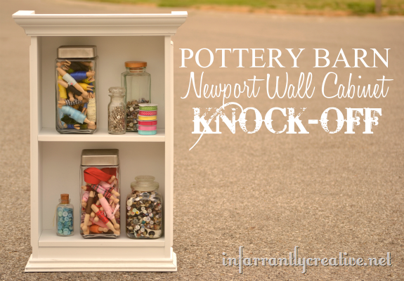 Old wooden cabinet transformed to look like the Newport Wall Cabinet from Pottery Barn.