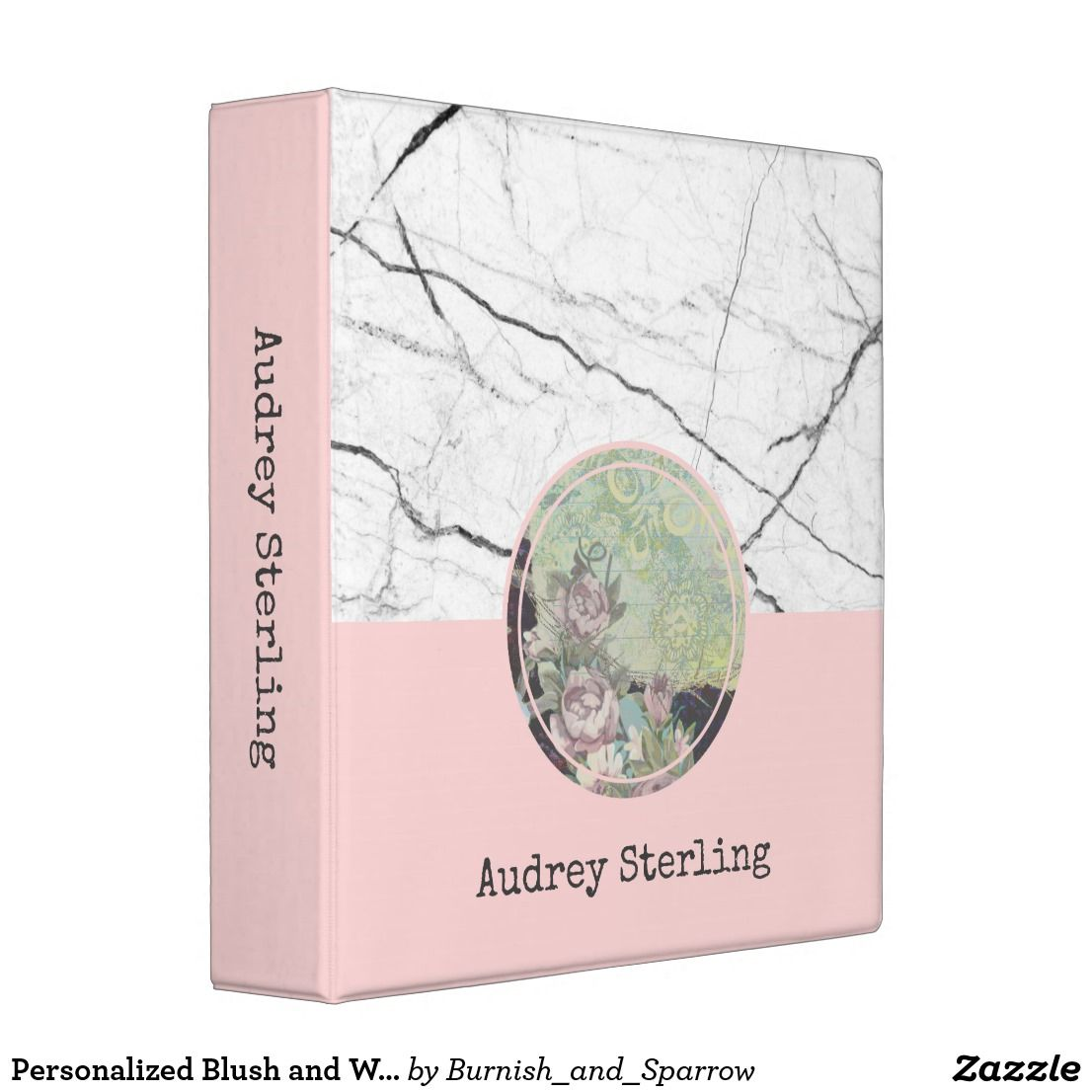 Personalized Blush And White Marble Chic 3 Ring Binder