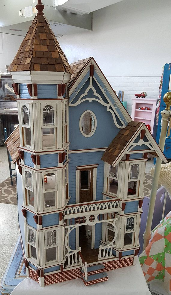 Vintage Victorian Blue Dollhouse Handmade Wood Over 3ft Tall