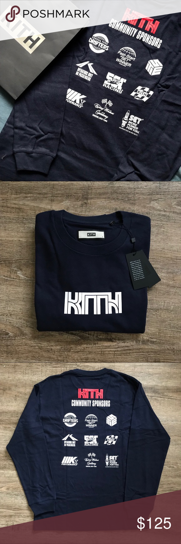 5843341c KITH Box Logo Long Sleeve Navy Shirt LARGE Style: 804647 KITH COMMUNITY  SPONSORS L/S TEE - NAVY L kith Shirts Tees - Long Sleeve
