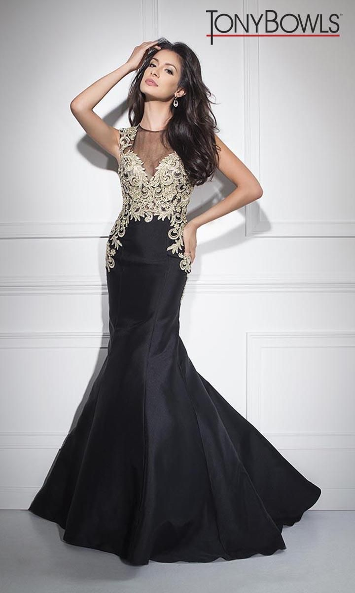 783ac6a20c96 Size 10 Black- Tony Bowls TB11669 is a long trumpet skirt prom gown with  fleur-de-lis beading on sleeveless bodice.