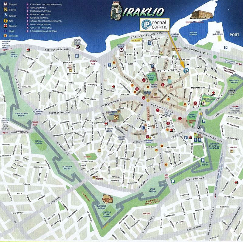 Heraklion City Map HERAKLION Pinterest Heraklion City maps
