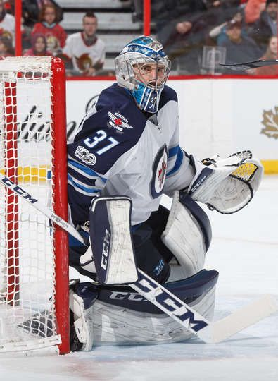 Ottawa On February 19 Connor Hellebuyck 37 Of The Winnipeg Jets Guards His Net Against The Ottawa Senators At Canadian Tire Centre On February 19 2017 In
