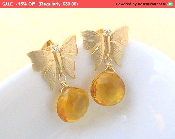 Butterfly Earrings Citrine Topaz Quartz Earrings by Crystalshadow