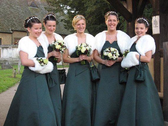 Ivory White Faux Fur Bolero Bridesmaid Shrug Wedding Steal Jacket Shawl