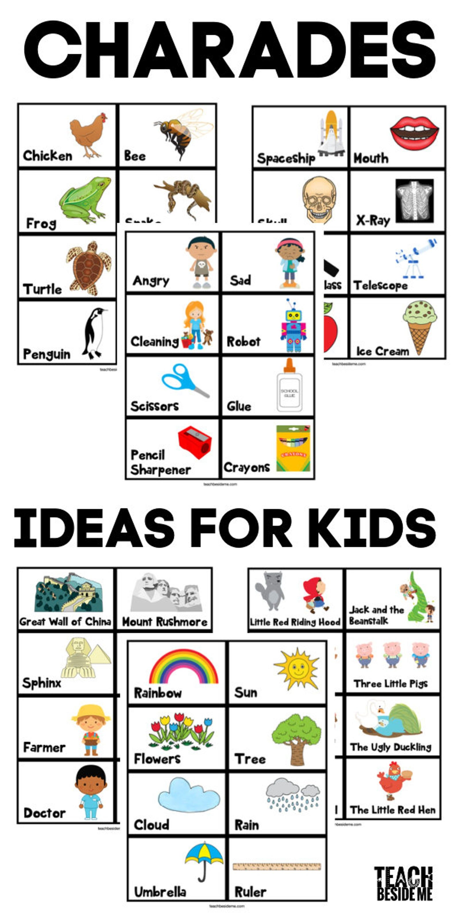 Charades Idea Cards for Kids