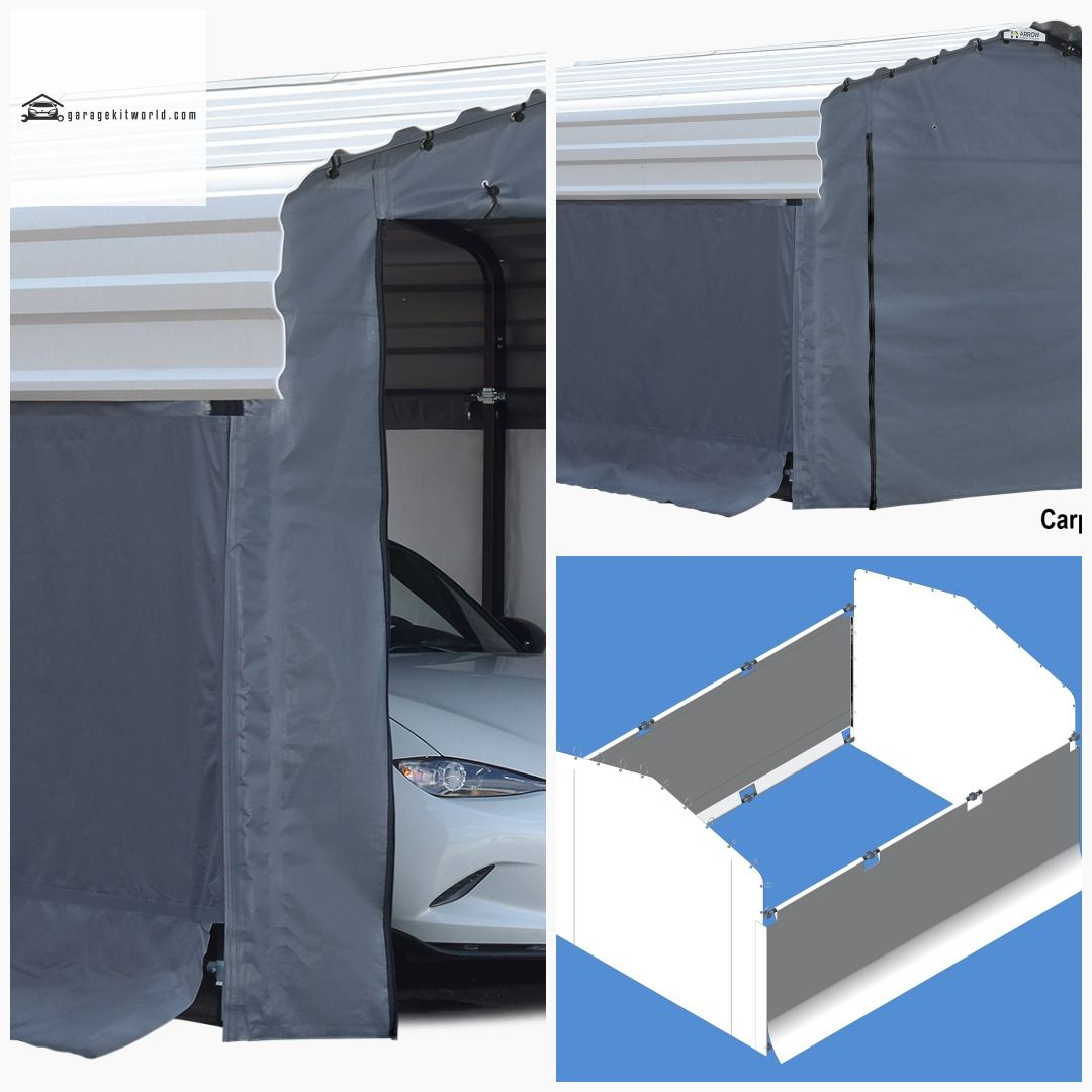 Arrow Grey 10 x 15 ft. Carport Enclosure Kit garage