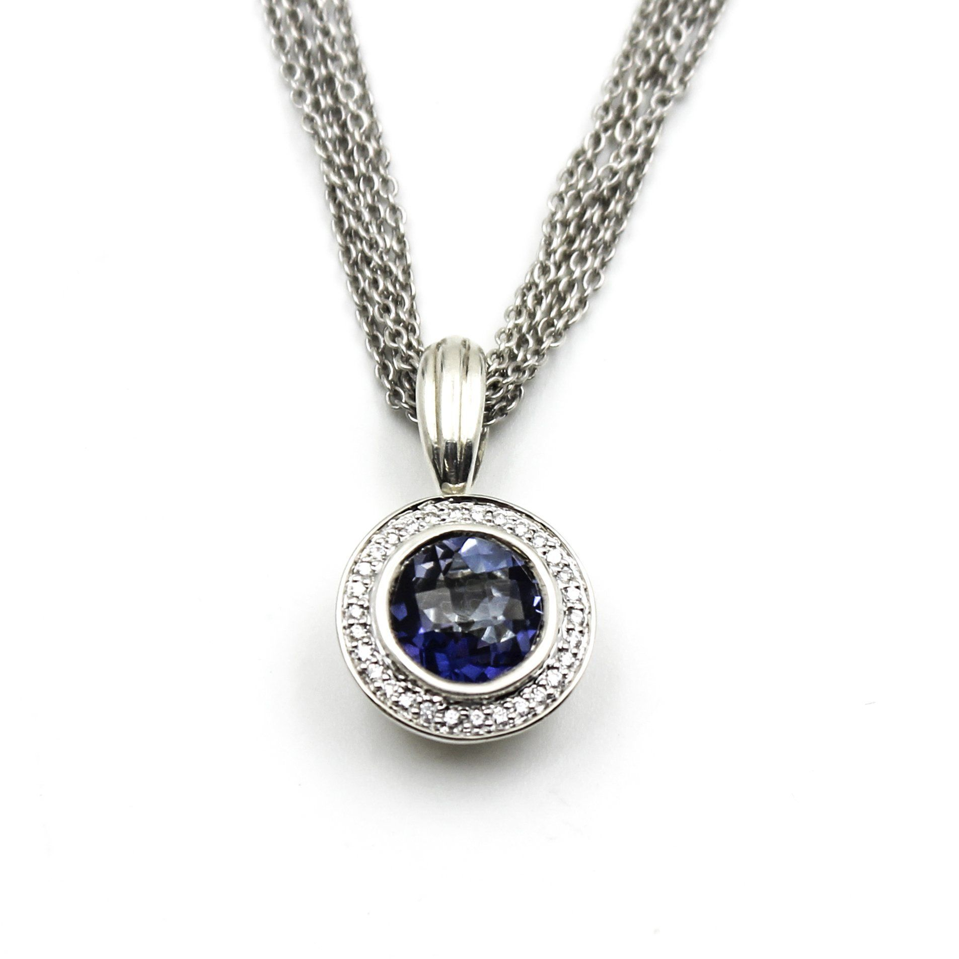 Charles krypell blue quartz diamond pendant necklace in k gold