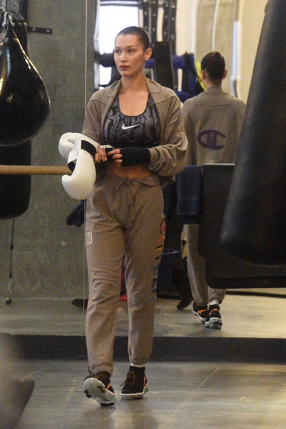 96c3463cf8a8 Bella Hadid wearing Nike Classic Printed Dri-Fit Sports Bra in Gunsmoke