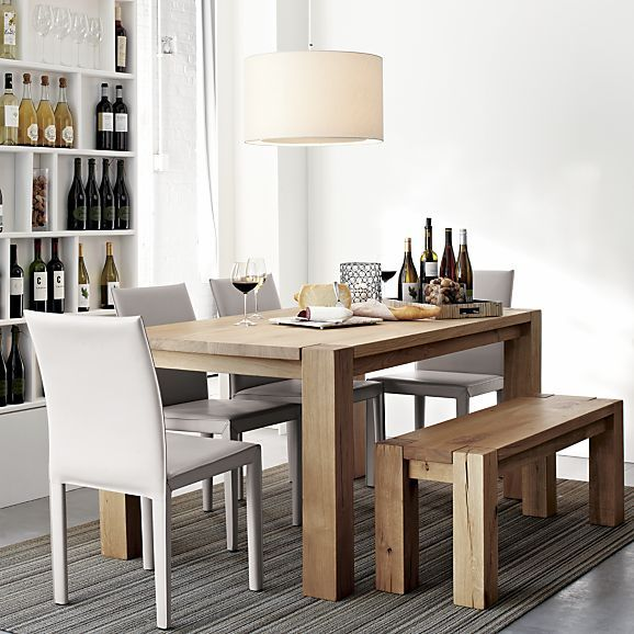 Big Sur Natural 65 Dining Table In Dining Kitchen Tables Crate And Barrel Dining Table With Bench Leather Dining Chairs Leather Side Chair