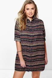 Plus Libby Printed Shirt Dress