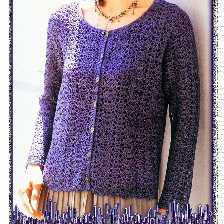 Crochet Knitting Handicraft: purple cardigan